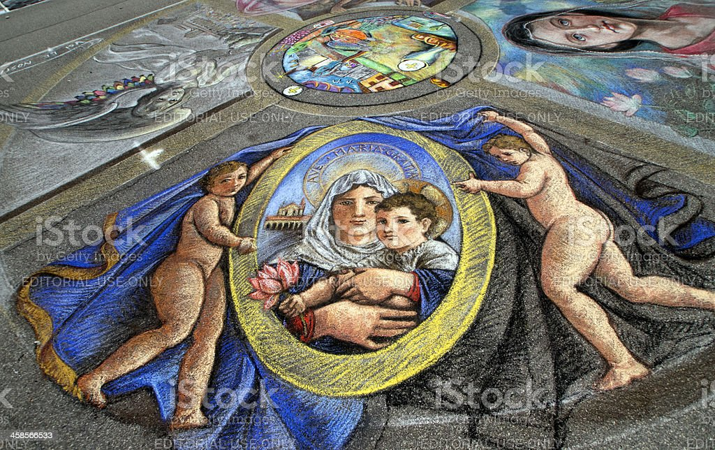 Madonna and Child, chalks artwork by a street painter royalty-free stock photo