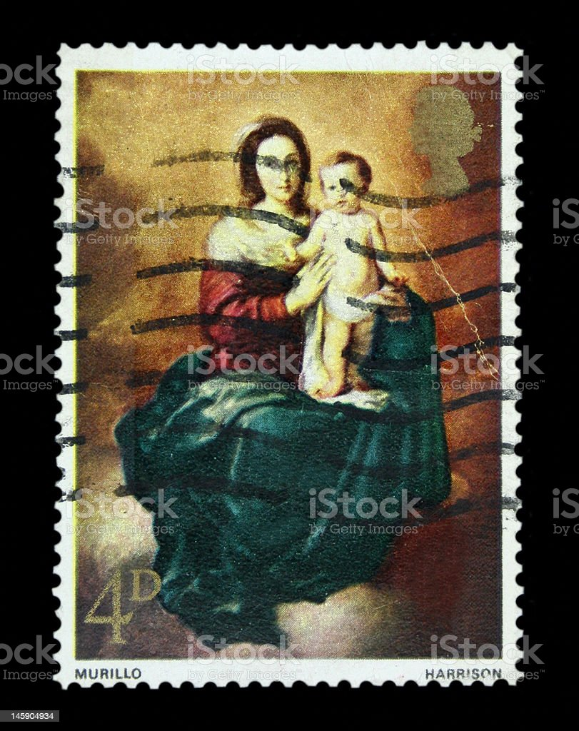 Madonna and Child Postage Stamp royalty-free stock photo