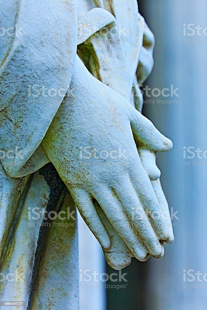 Madonna Angel lovely praying faithfull hands clasped, Recoleta Cemetery stock photo