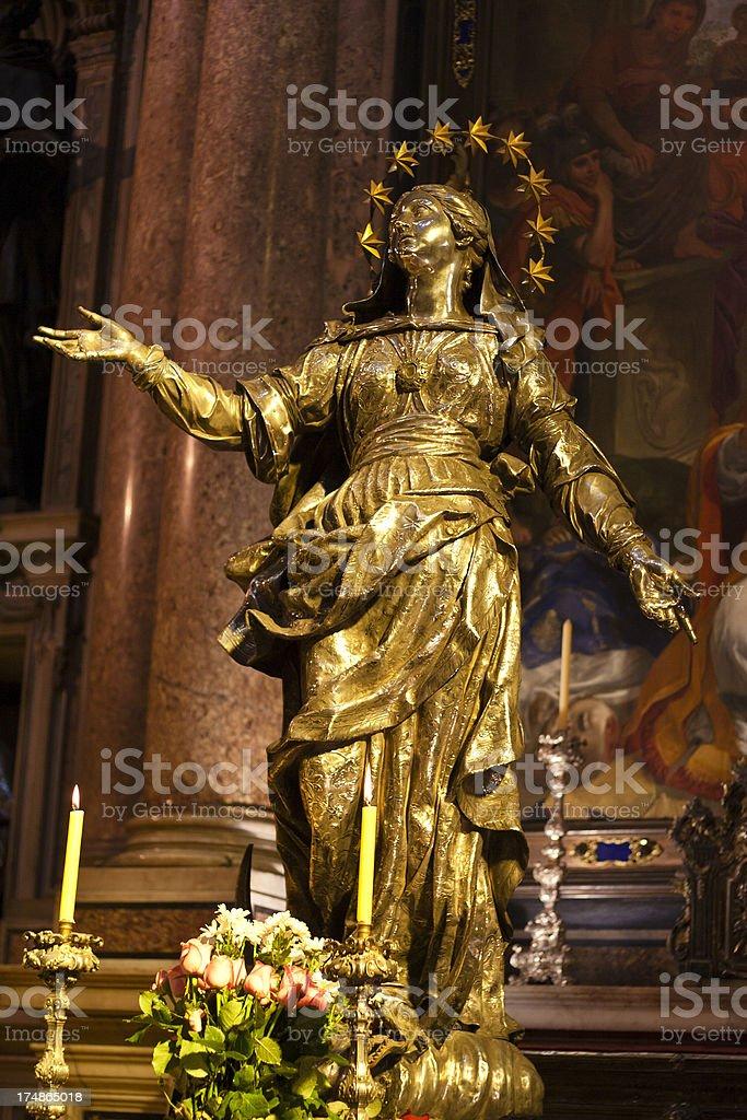 Madonna Bronze Statue stock photo
