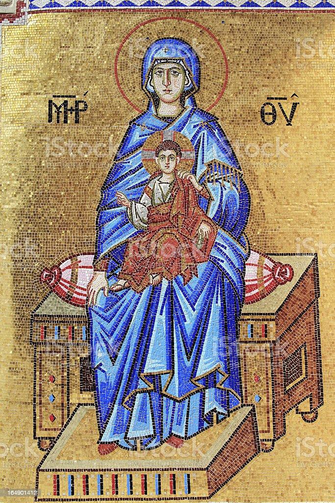 Madonna & Child Mosiac, Kykkos Monastery, Cyprus stock photo