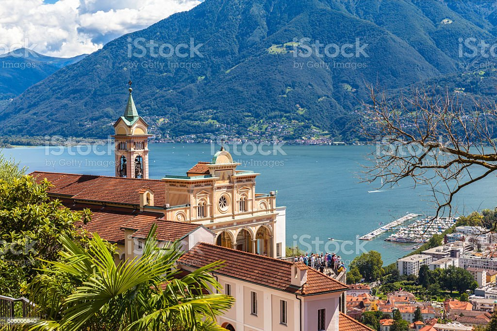 Madonna del Sasso Church in Locarno stock photo