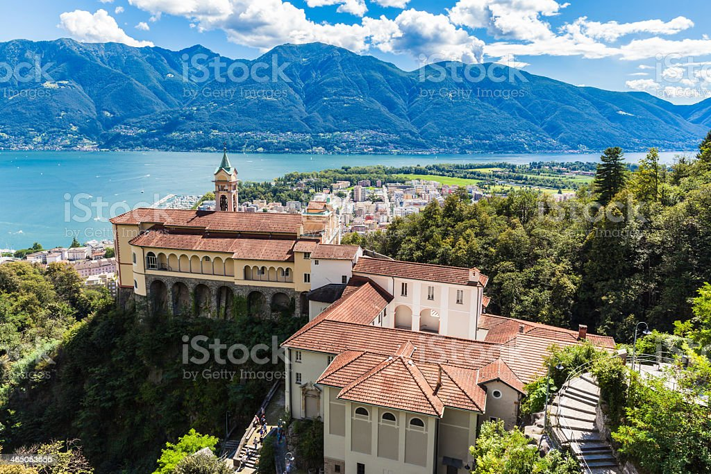 Madonna del Sasso Church stock photo