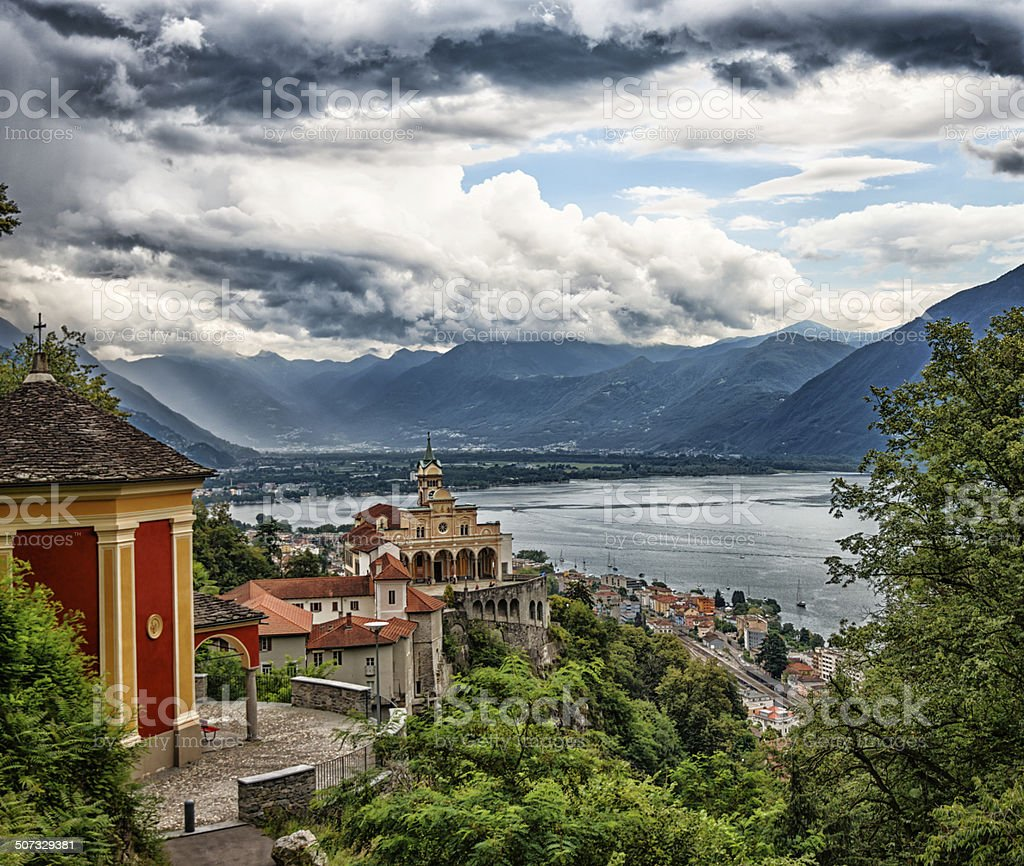 Madonna del Sasso, Locarno, Switzerland stock photo