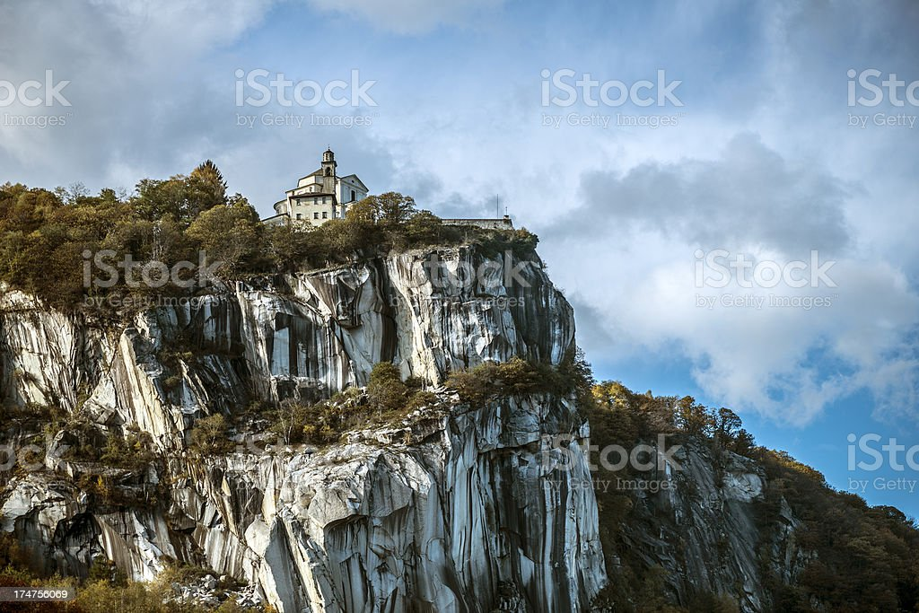 Madonna del Sasso over Lake Orta, Italy stock photo
