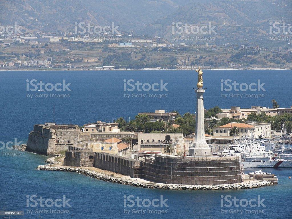 'Madonna della Lettera' statue in Messina's port, Italy stock photo