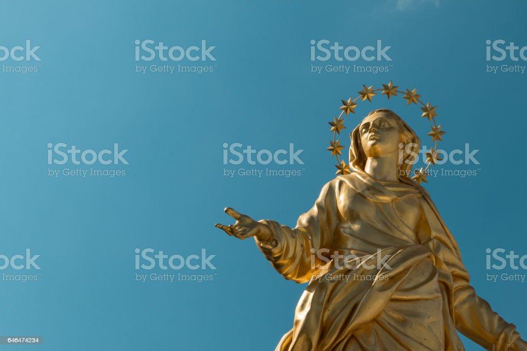Madonna Golden Statue Perfect Bronze Replica in Milan, Italy stock photo