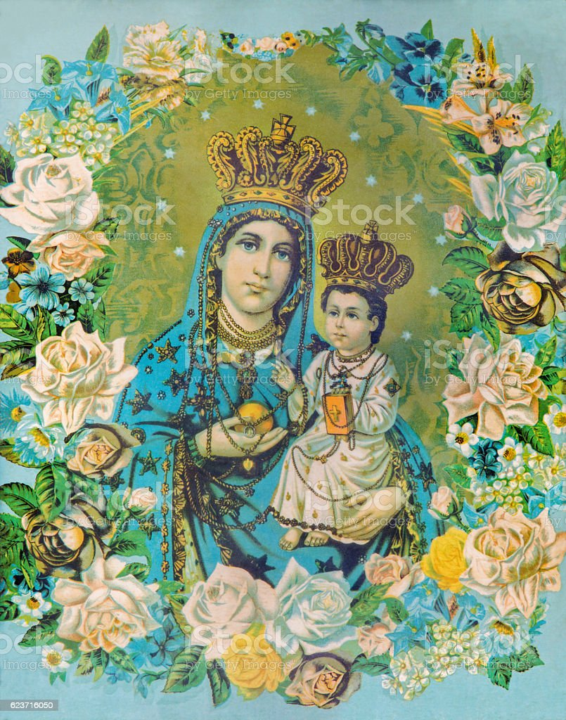 Madonna with the child in the flowers. stock photo