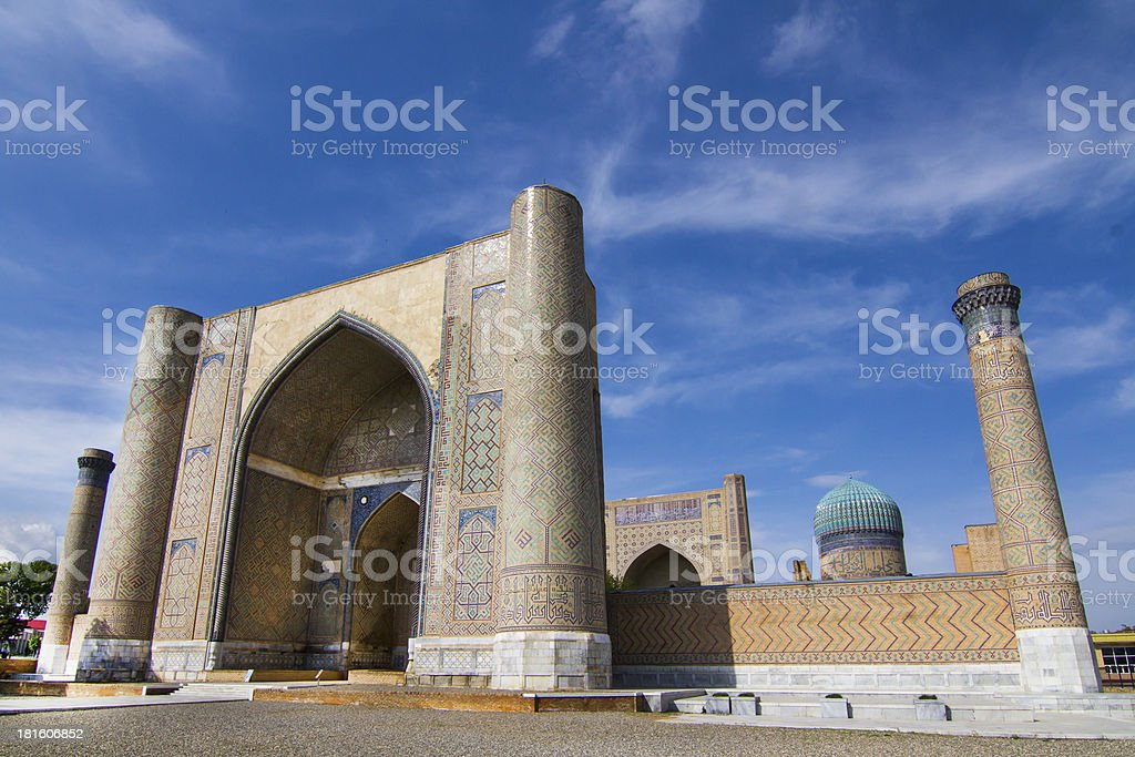 Madrassah near the central bazaar in Samarkand stock photo