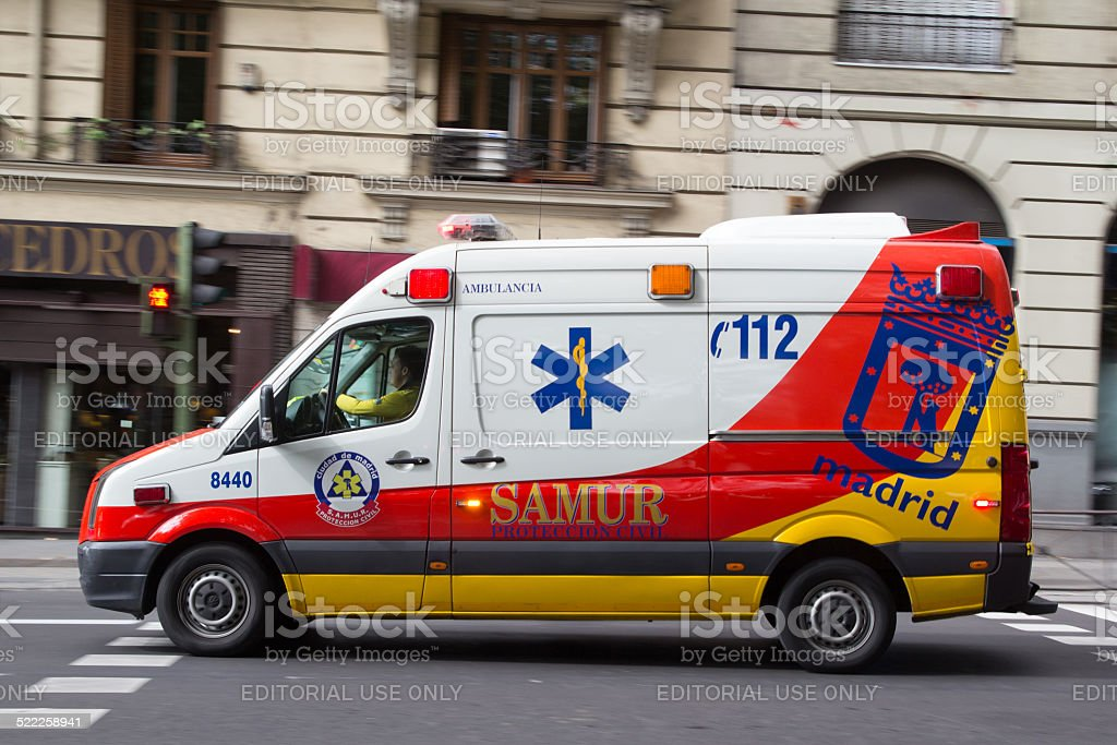 Madrid Ambulance stock photo