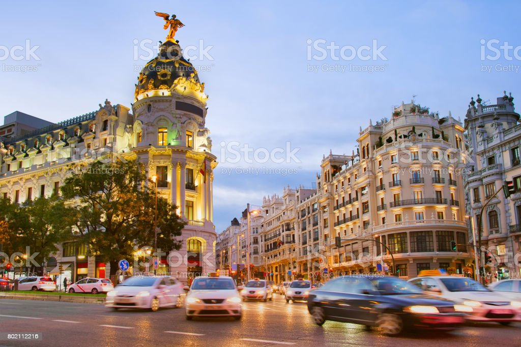 Madrid at dusk, Spain stock photo