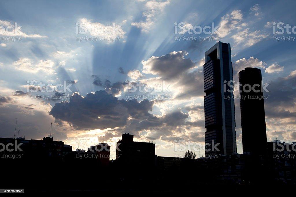 madrid edificios al amanecer foto de stock libre de derechos