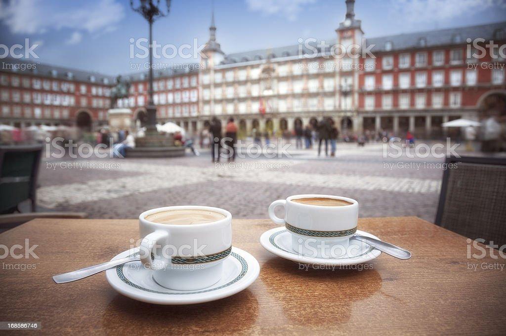 Madrid: Cafe in Plaza Mayor stock photo