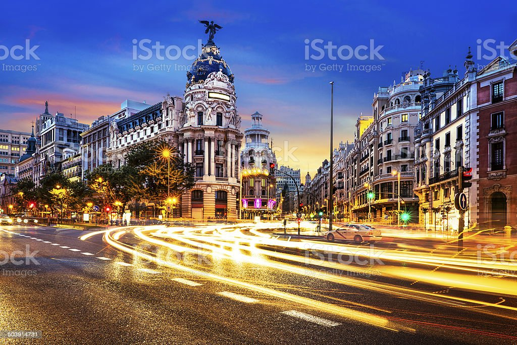 Madrid city center, Gran Vis Spain stock photo