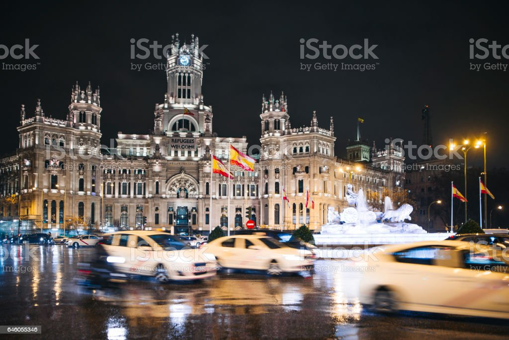 Madrid City Hall at night stock photo