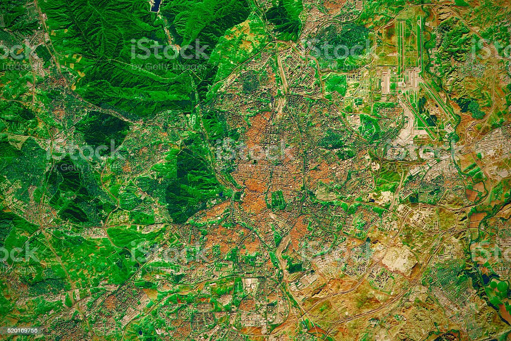 Madrid City Topographic Map Natural Color stock photo