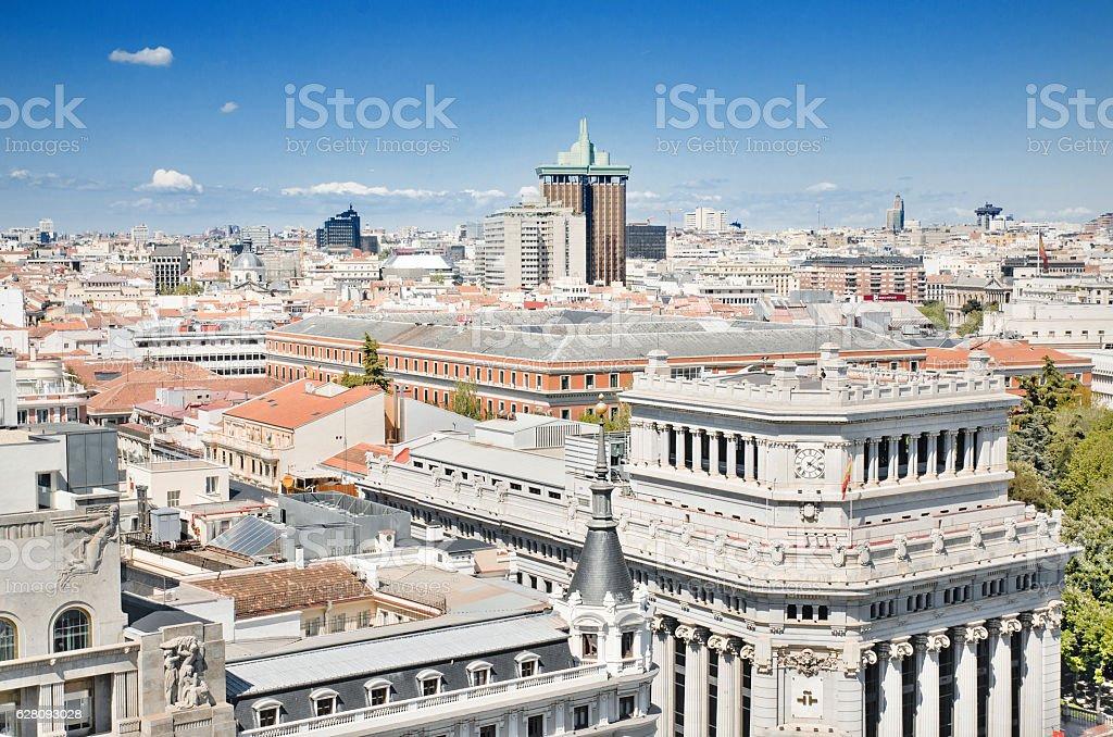 Madrid cityscape scenic view, Madrid, Spain. stock photo