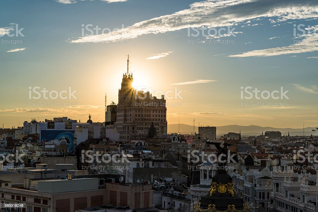 Madrid cityscape, Spain stock photo