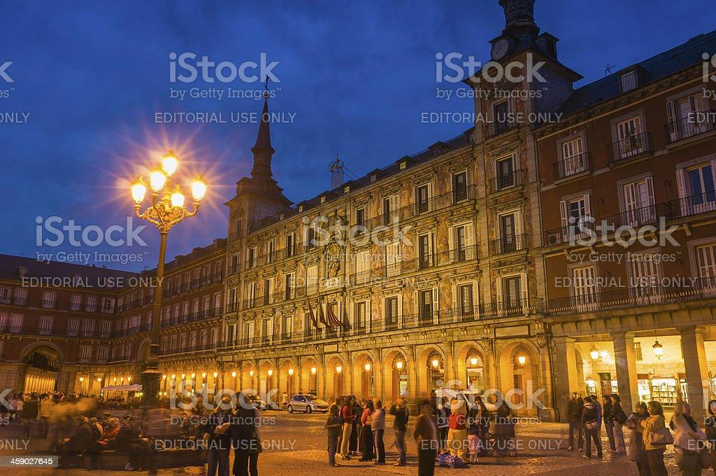 Madrid crowds in Plaza Mayor at dusk Spain royalty-free stock photo