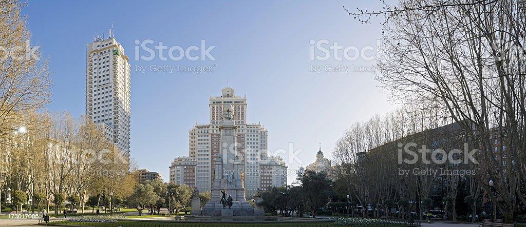 Madrid dawn in Plaza de España stock photo
