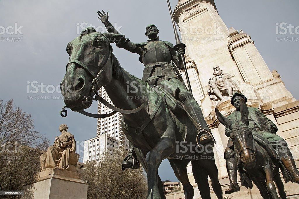 Madrid -  Don Quixote and Sancho Panza from Cervantes memorial royalty-free stock photo