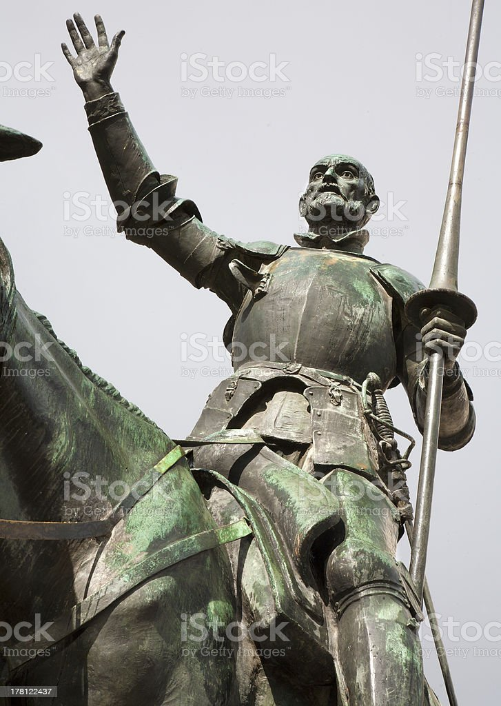 Madrid -  Don Quixote statue from Cervantes memorial stock photo