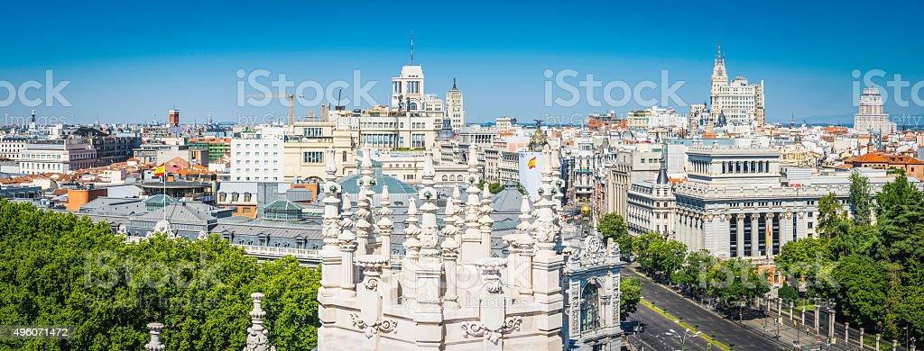 Madrid Gran Via Plaza de Cibeles rooftop cityscape panorama Spain stock photo