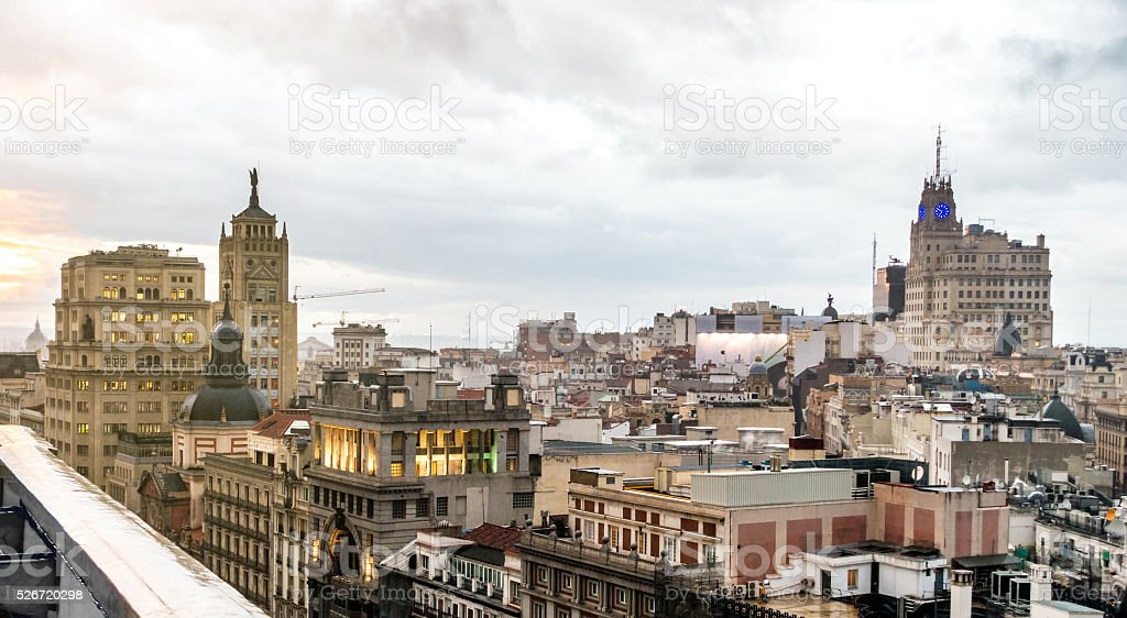 madrid gran via roof spain cloud twilight alcala sunset stock photo