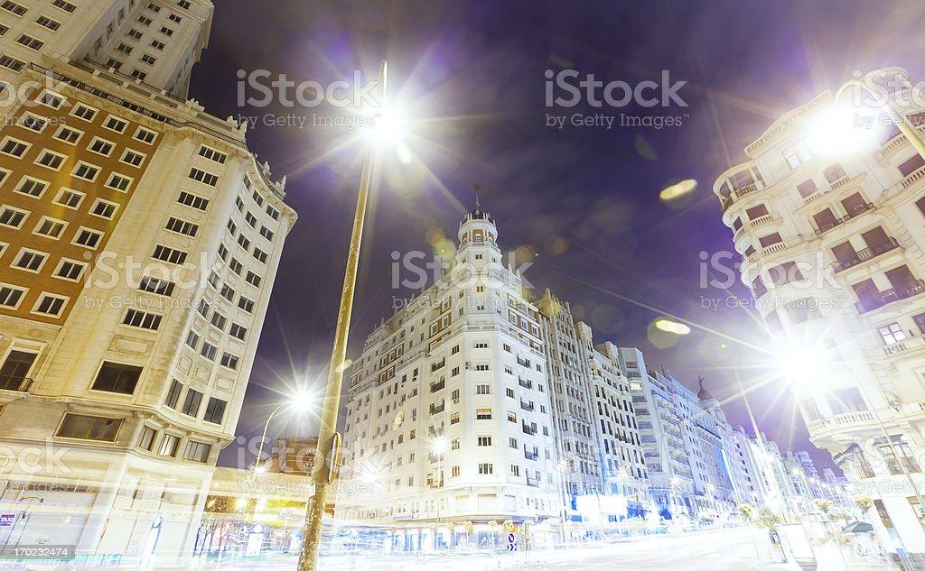 Madrid in night royalty-free stock photo