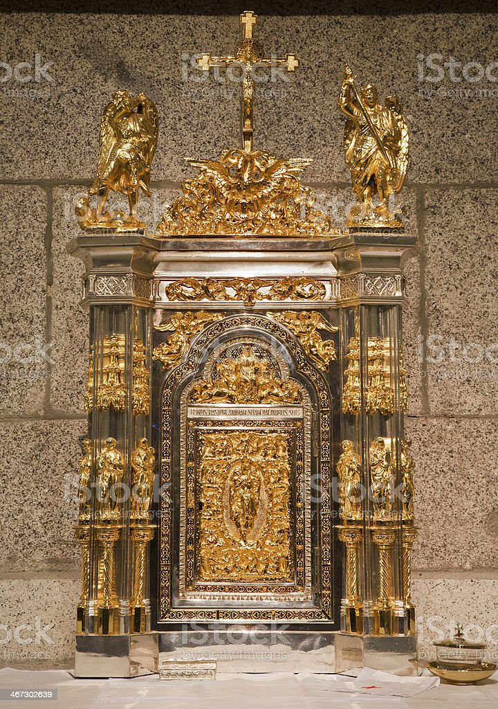 Madrid - Modern Tabernacle  from church hl. Theresia stock photo