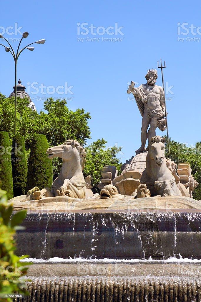 Madrid Neptuno fountain in Paseo de la Castellana stock photo