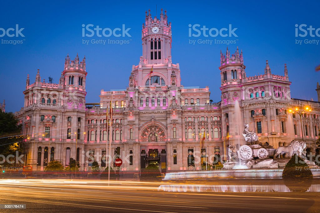 Madrid Palacio de Cibeles illuminated Plaza de Cibeles traffic Spain stock photo