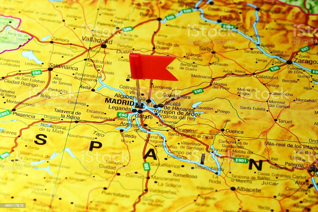 Madrid pinned on a map of europe stock photo