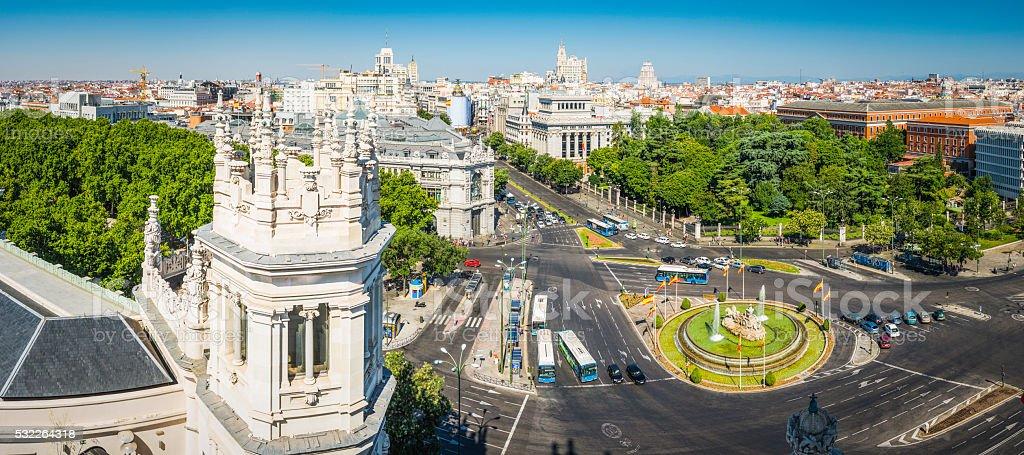 Madrid Plaza de Cibeles and Grand Via landmark panorama Spain stock photo