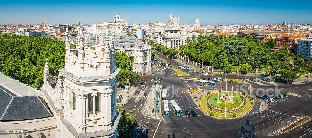Madrid Plaza de Cibeles and Grand Via landmark panorama Spain stock photo