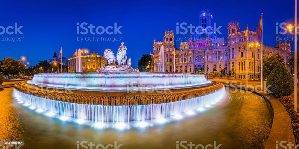 Madrid Plaza de Cibeles fountain Palacio de Comunicaciones illuminated Spain stock photo