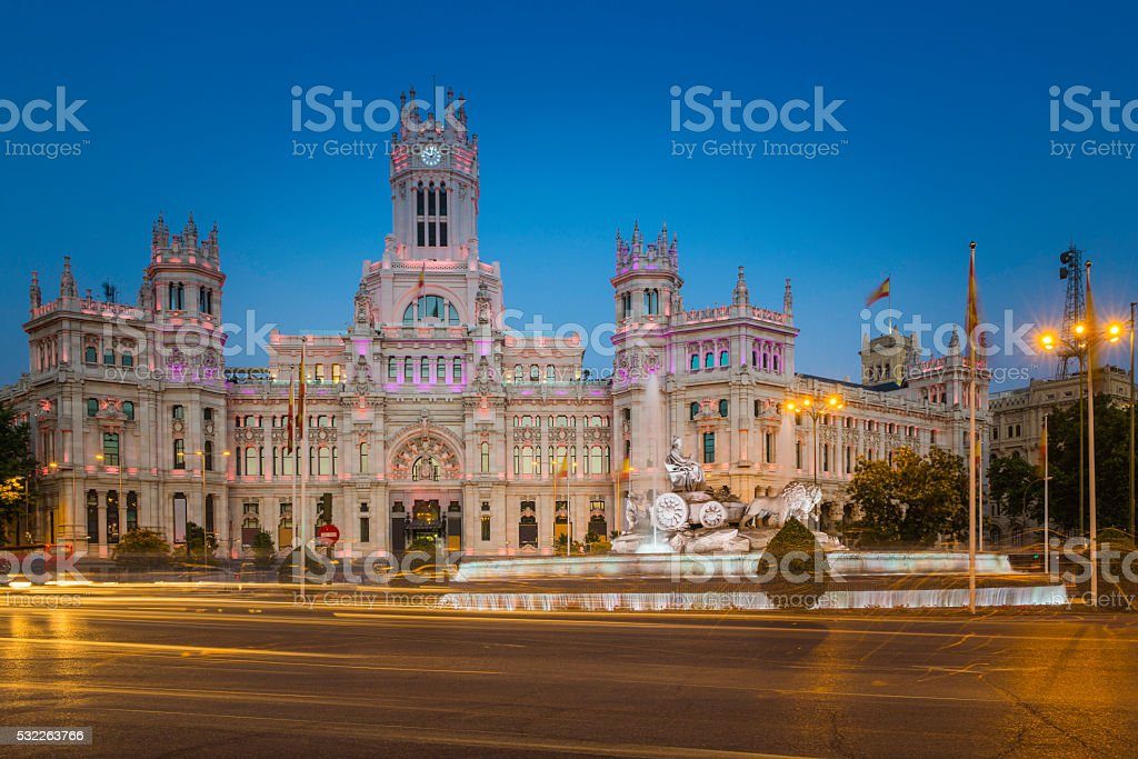 Madrid Plaza de Cibeles iconic central post office illuminated Spain stock photo