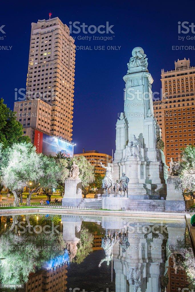 Madrid Plaza de Espana Torre Espana illuminated at night Spain stock photo