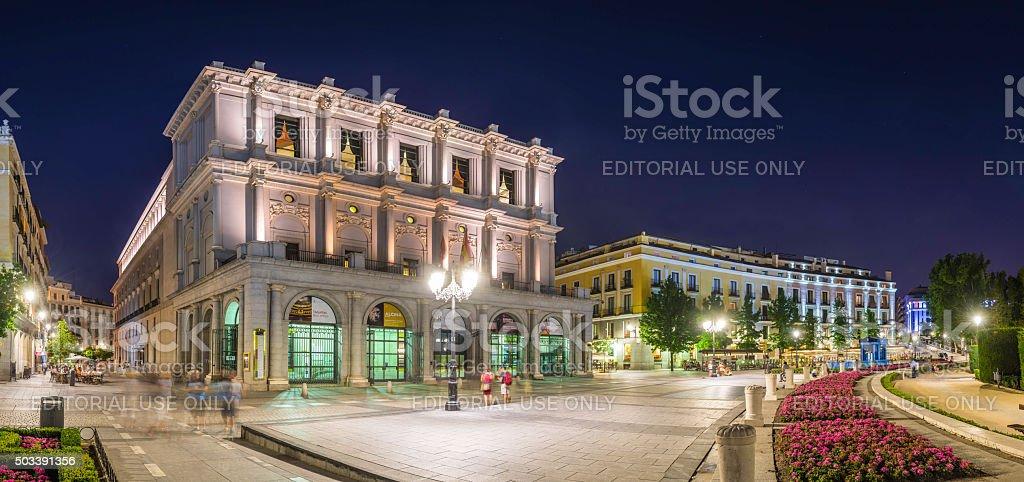 Madrid Plaza de Oriente El Real cityscape illuminated dusk Spain stock photo