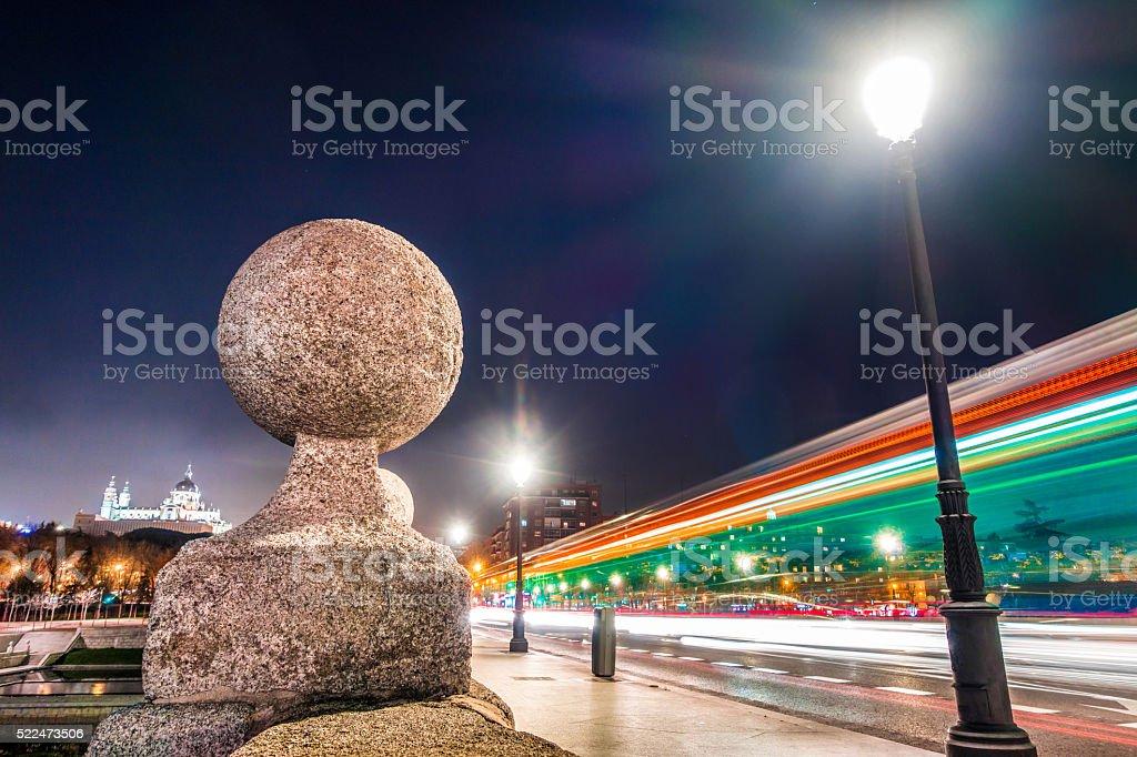 madrid puente rio parque manzanares night light blur close stock photo