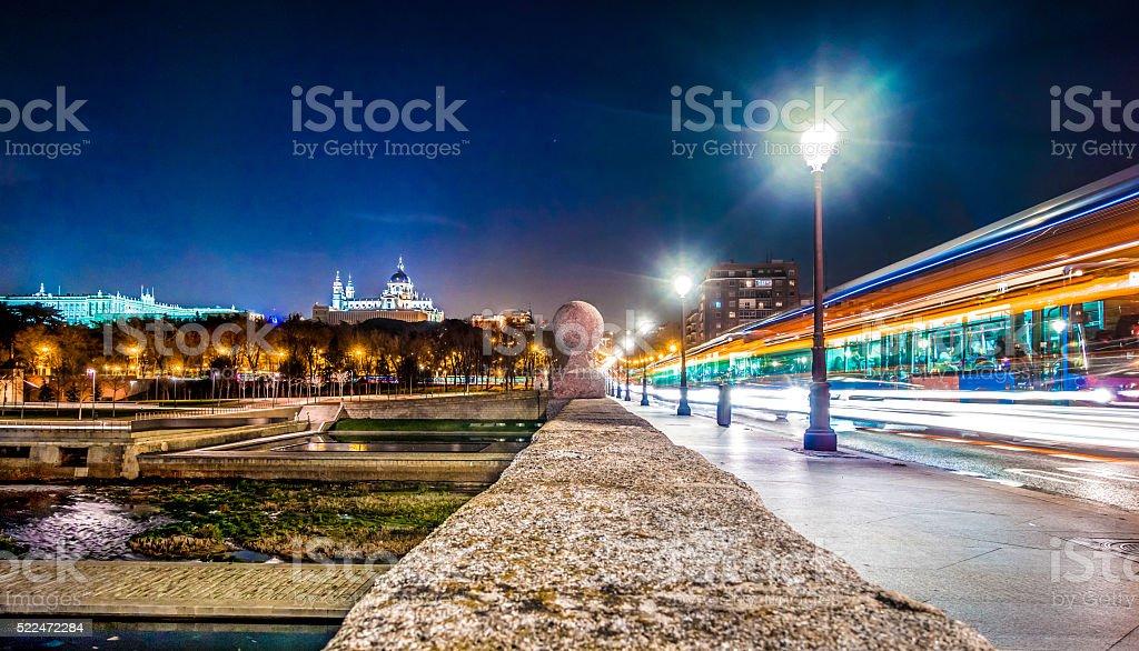 madrid puente rio parque manzanares night light blur wide stock photo