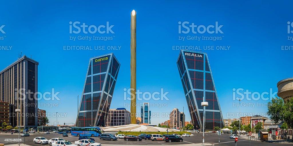 Madrid Puerta de Europa Plaza de Castilla traffic skyscrapers Spain stock photo