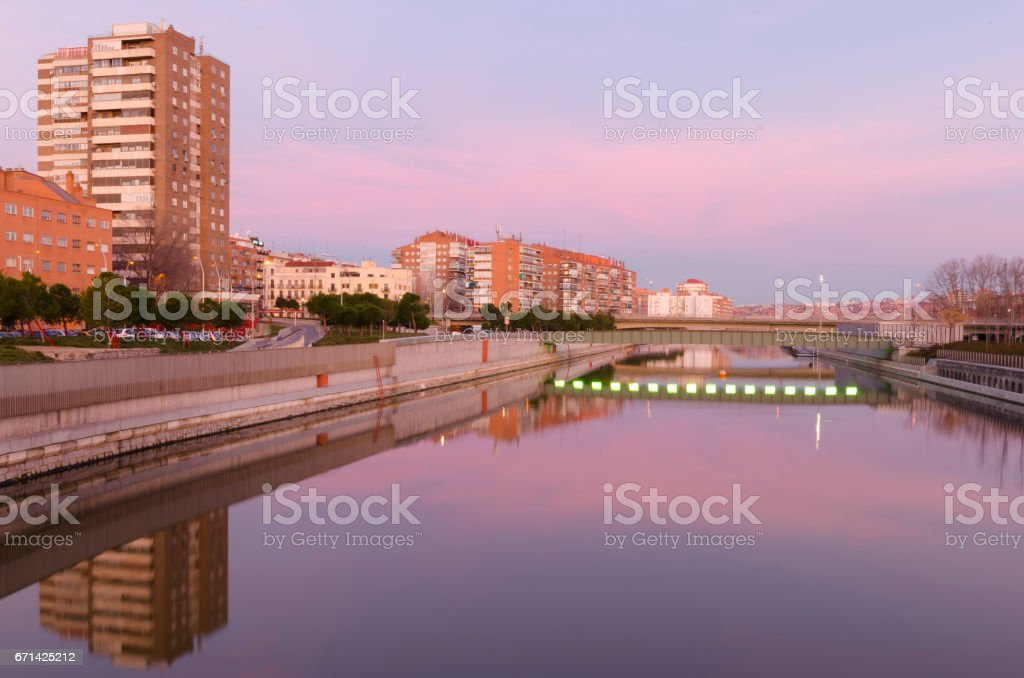 madrid rio in the morning stock photo