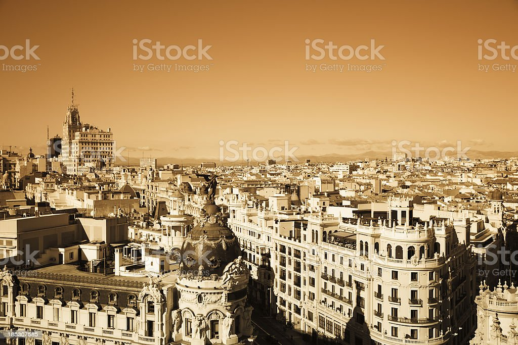 Madrid roofs doutone royalty-free stock photo
