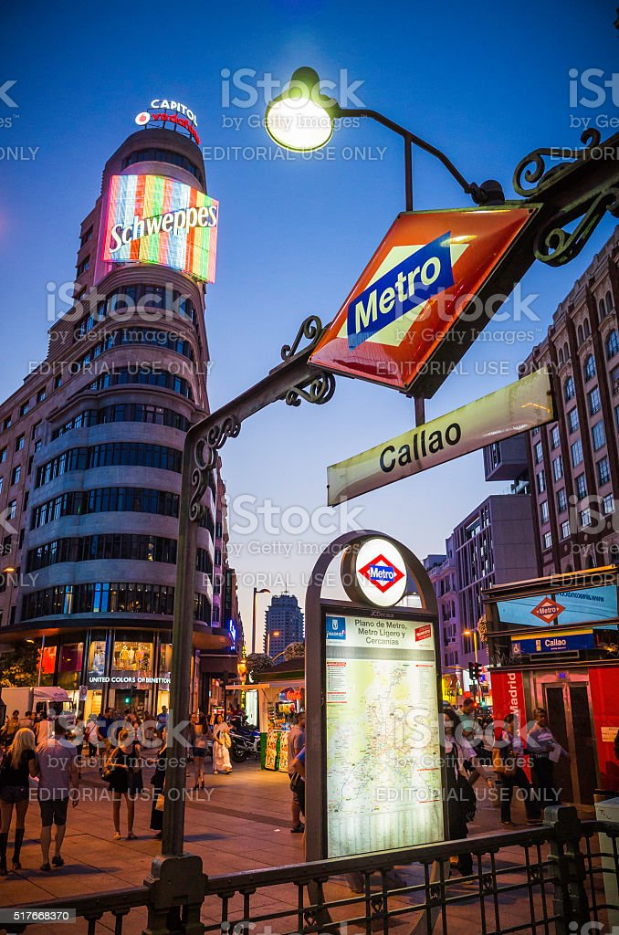 Madrid Shweppes Metro sign Gran Via shopping street nightlife Spain stock photo