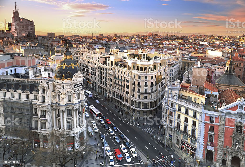 Madrid Skyline at sunset stock photo