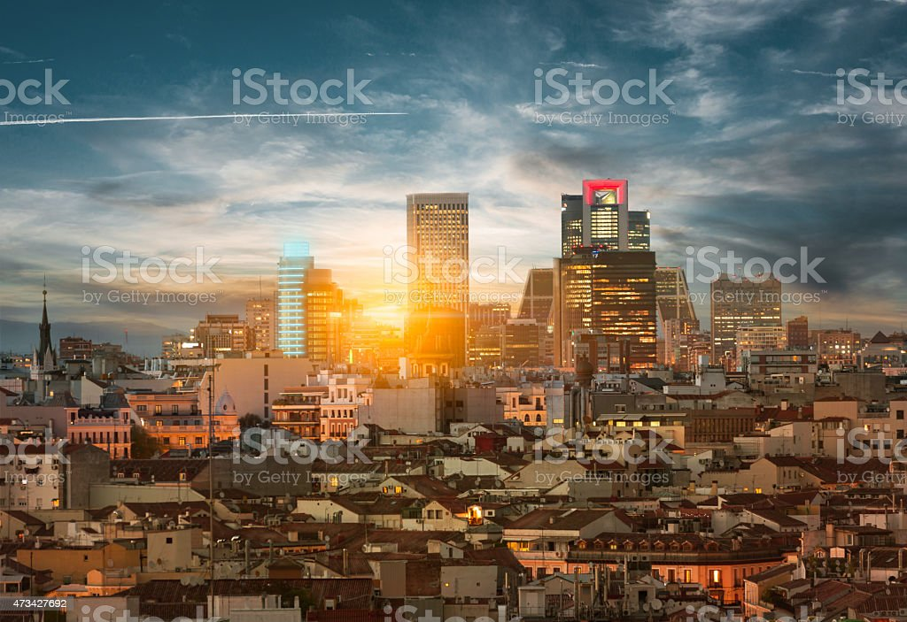 Madrid skyline graphic cityscape stock photo