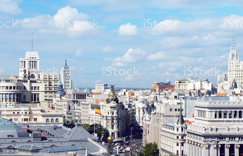 Madrid skyline view stock photo