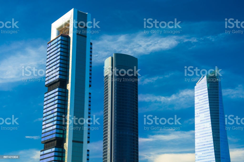 Madrid Skyscrapers and Blue Sky With Clouds stock photo