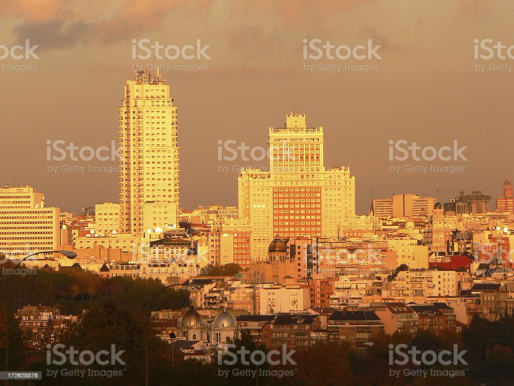 Madrid: skyscrapers of Plaza de España royalty-free stock photo